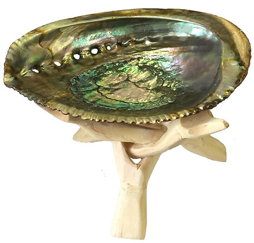 Abalone Shell Ash Tray With Wooden Stand for Smuding Herbs