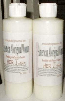Picture of white bottle with label A A W Body Care HER lotion.