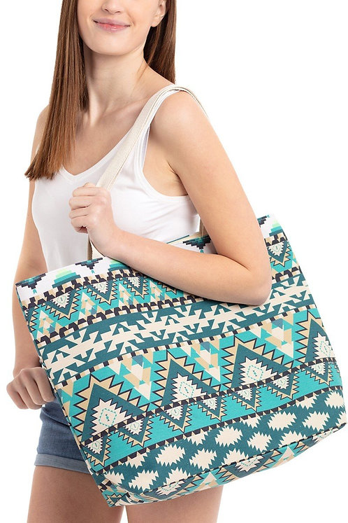 Mb0087 - Turquoise Aztec Pattern Tote Bag