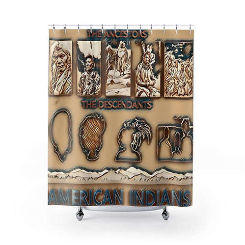 Shower curtain with The Ancestors of Indians images and The Descendants with Black American images.