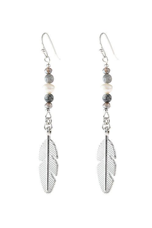 Hde3112 - Cast Feather Dangle Earrings