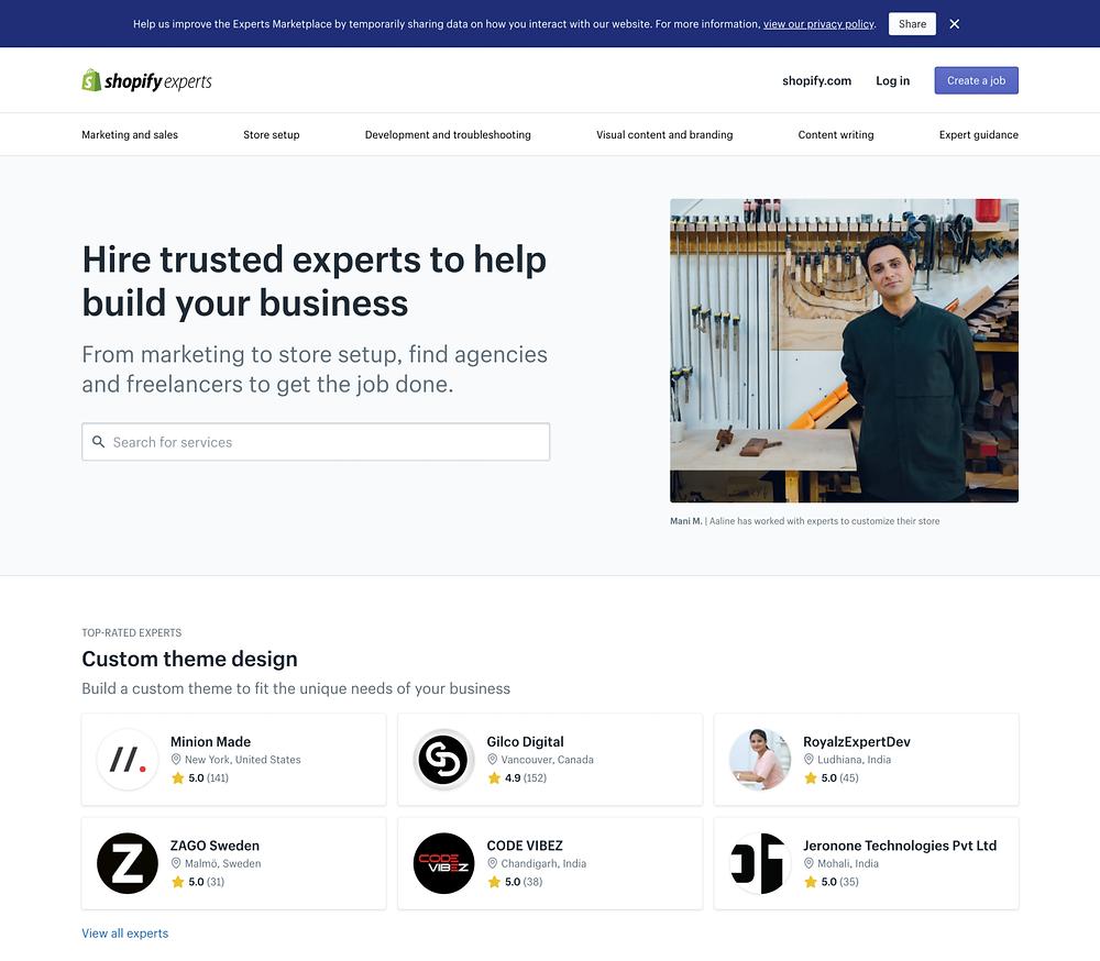 Shopify Experts 官方頁面-可以線上雇用 Shopify 專家