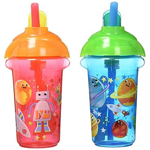 Click Lock Decorated Flip Straw Cup - 2 Pcs