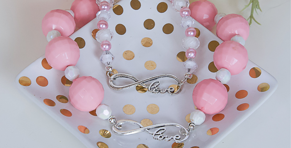 Infinite Love Dog Necklace and Matching Bracelet