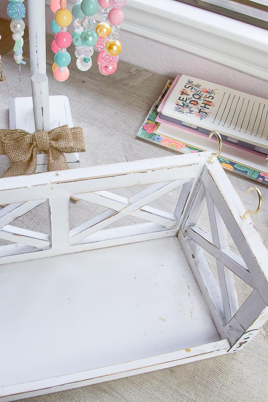 Adding Hooks to Old Shelf for DIY Jewelry Holder