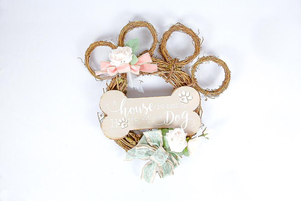 Dog Paw Wreath; Dog DIY Wreath; Dog Paw Print Wreath