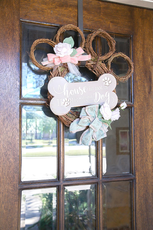 Dog Paw Door Wreath; How to DIY Door Wreath