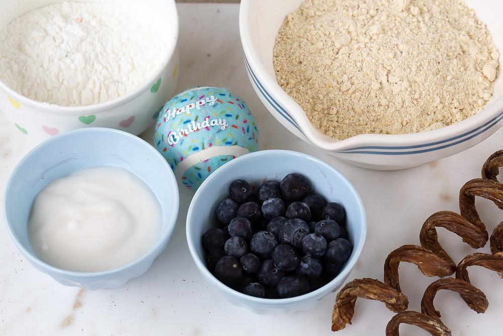 Ingredients to make dog birthday cake from dog birthday cake mix