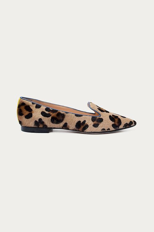 Brigitte Blau Gelb Leopard Felloptik