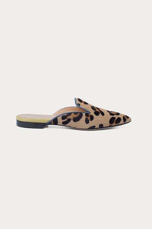 Clarissa Blau Gelb Leopard Felloptik