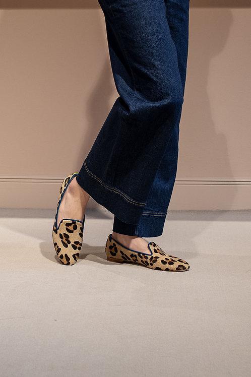 Amelie Blau Gelb Leopard Felloptik