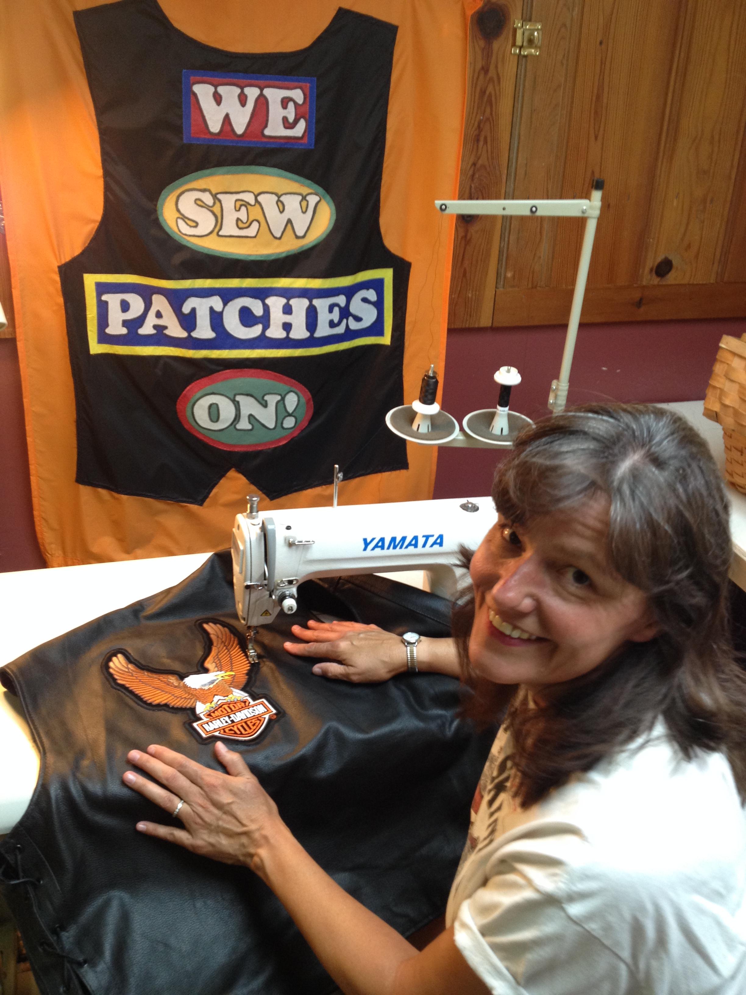 Maureen Lasslet sews patches!