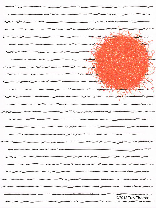 Black Lines, Orange Ball - Original