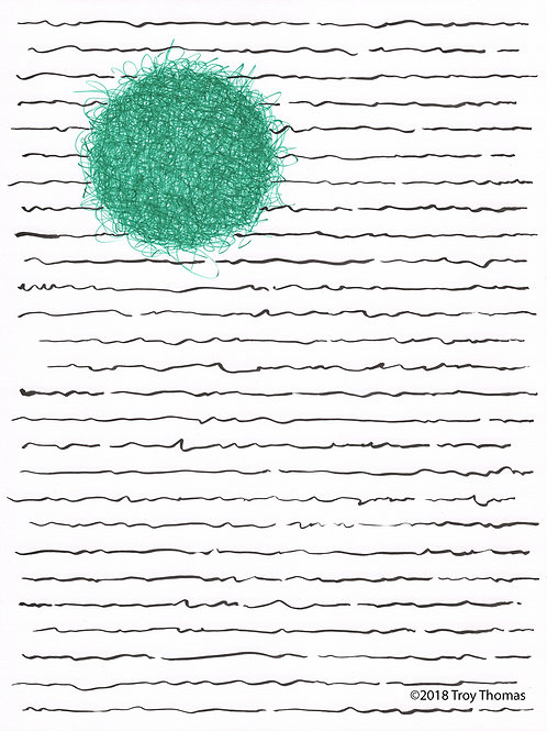 Black Lines, Green Ball - Original