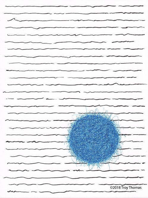 Black Lines, Blue Ball - Original