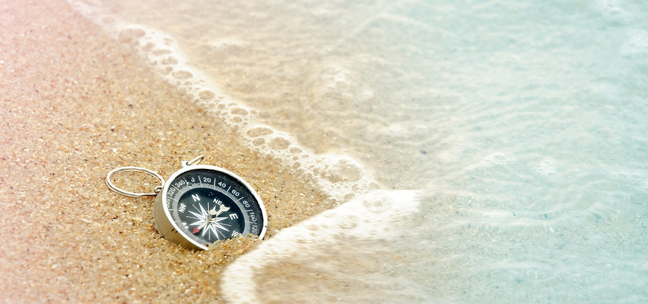 Vintage style of tourist compass on the