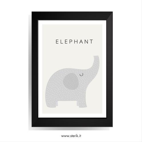 Sterik: Quadro con cornice nera - ELEPHANT