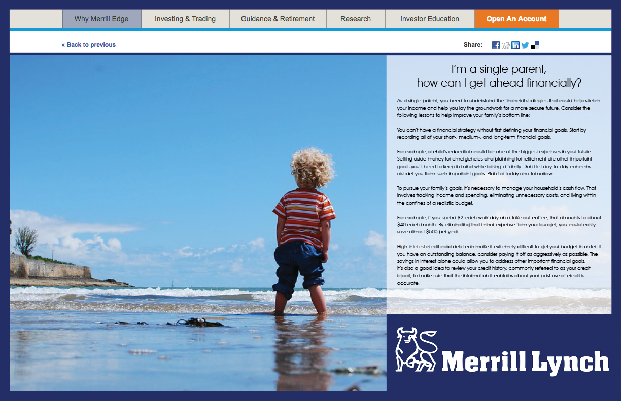 Merrill Lynch Edge Website Single Parent