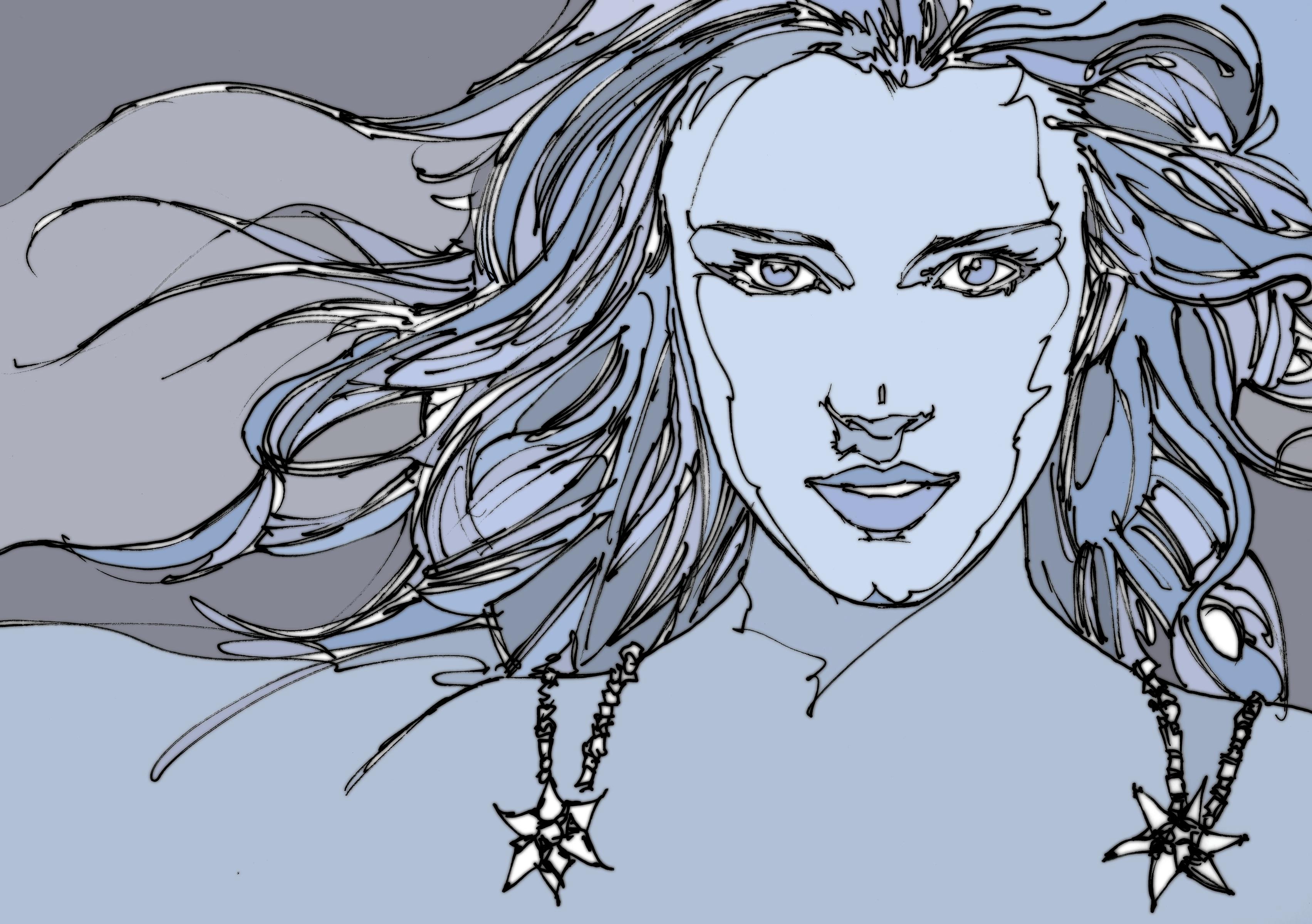 Woman Blue Portrait