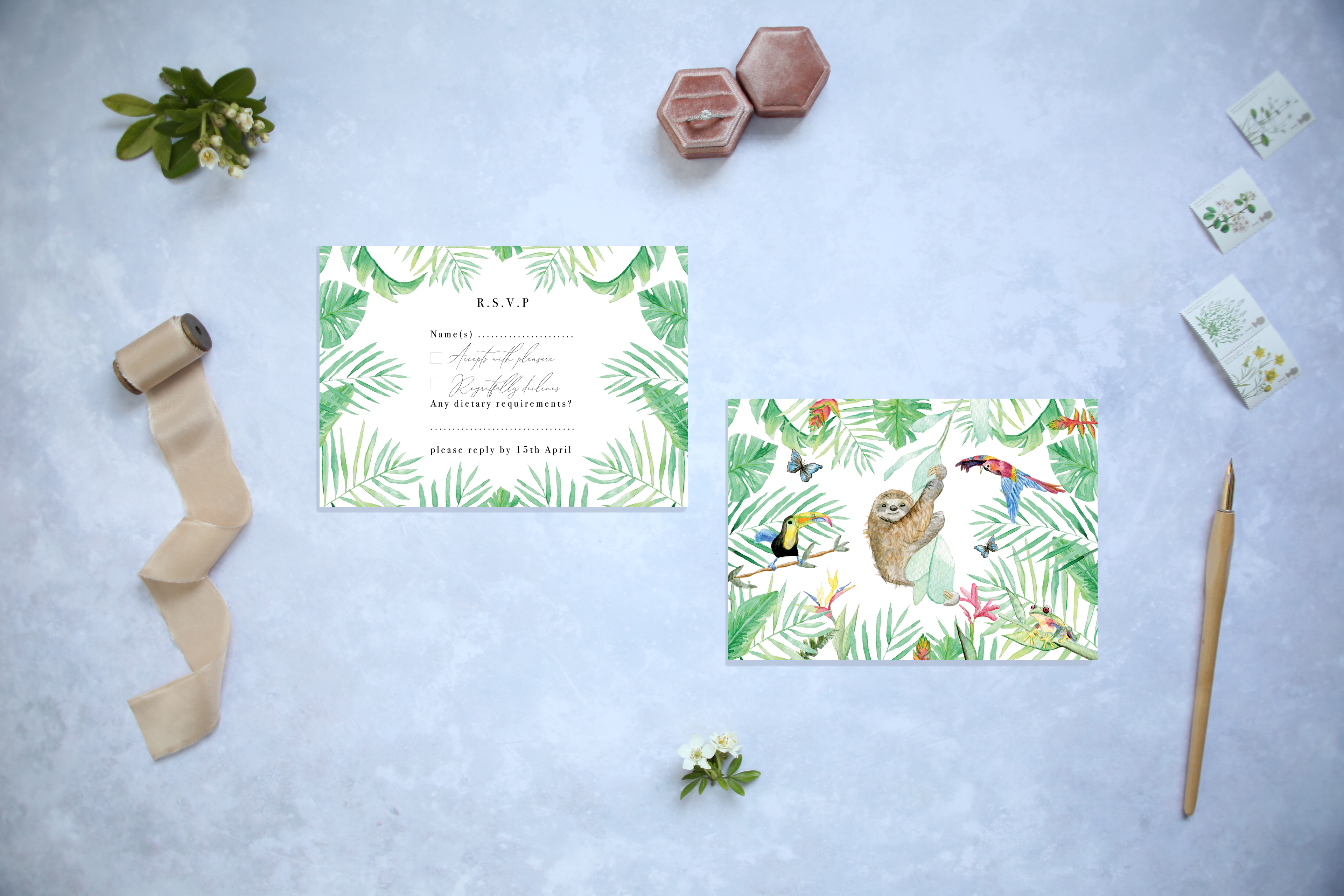 Tropical palm RSVP cards only master 001