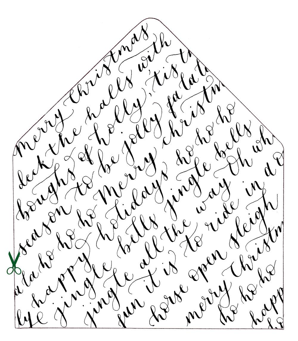 modern calligraphy christmas envelope liner