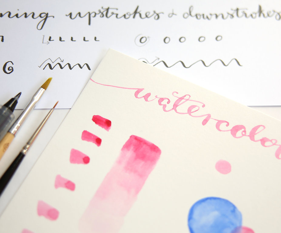 modern calligraphy and watercolours workshop