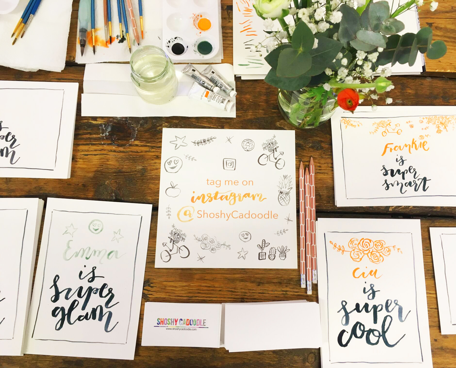 Brush lettering for Caudalie launch