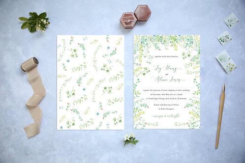 Wildflower Green Garden Wedding Invitation