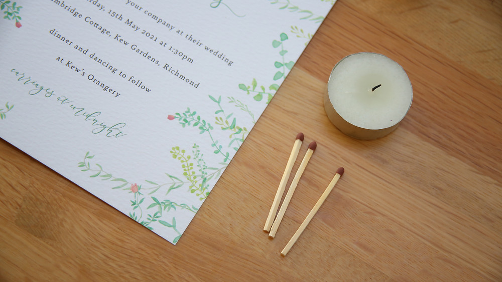 Floral garden wedding invitation with sealing wax tools