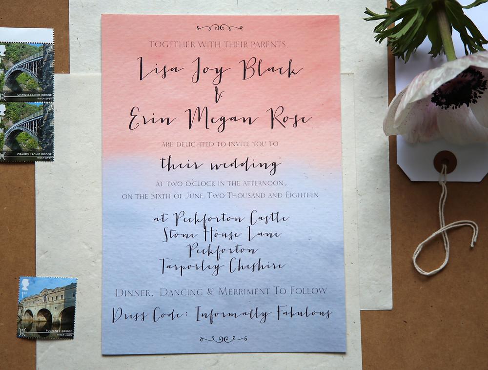 blush rose grey watercolour wedding invitation LGBT