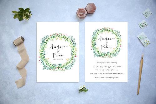 Greenery Wreath Woodland Wedding Invitation