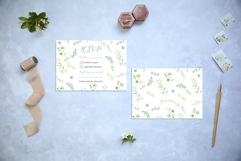 Wildflower Green Garden Wedding RSVP card