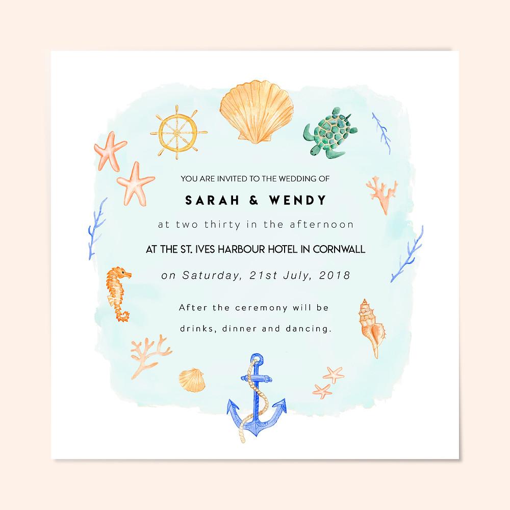 destination beach nautical wedding invitation same sex blue
