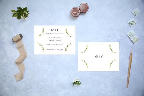 Greenery Wreath Woodland Wedding RSVP card