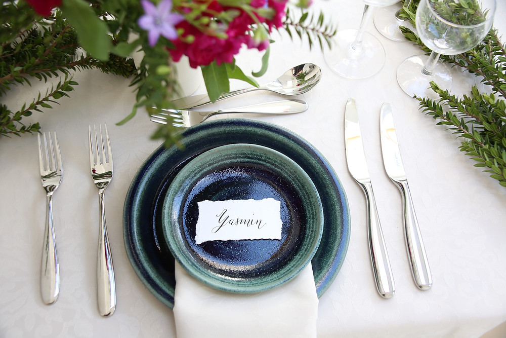 Modern Calligraphy Name Card Place setting Wedding Inspiration