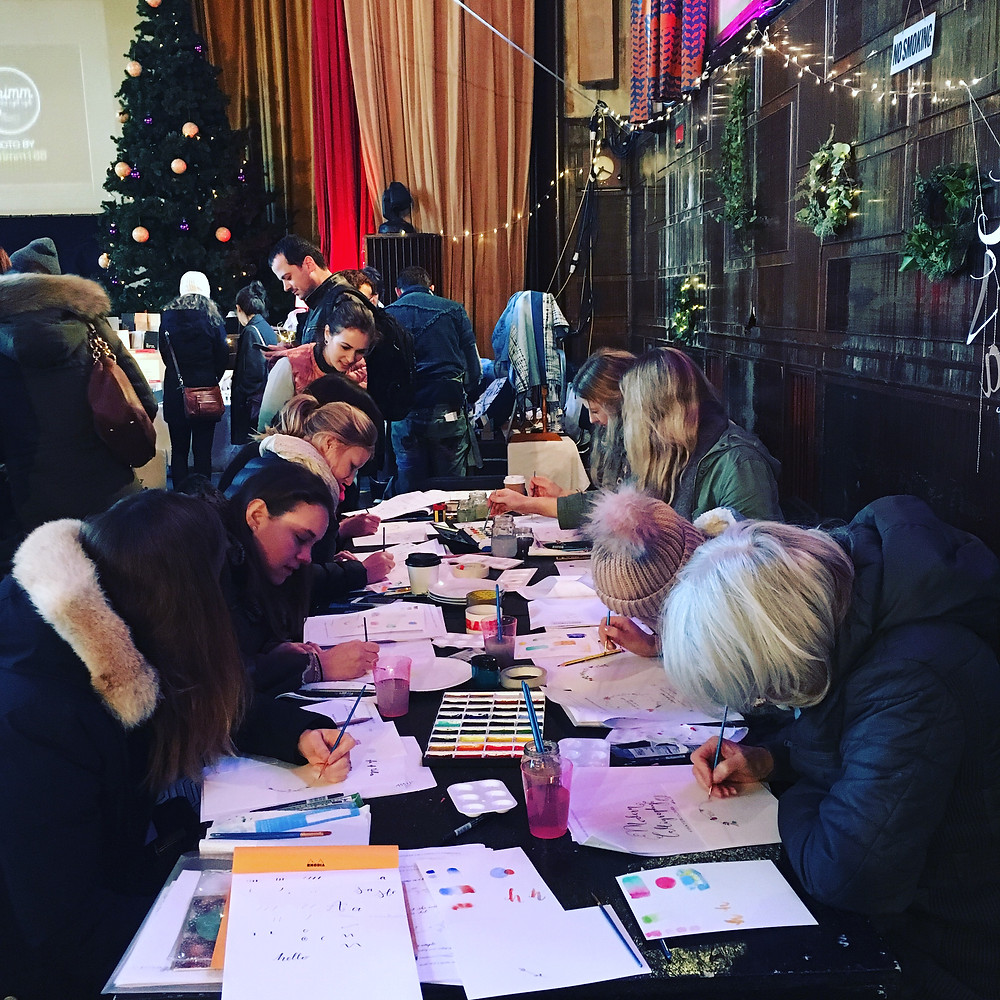 Modern Calligraphy and Watercolours Workshop in London