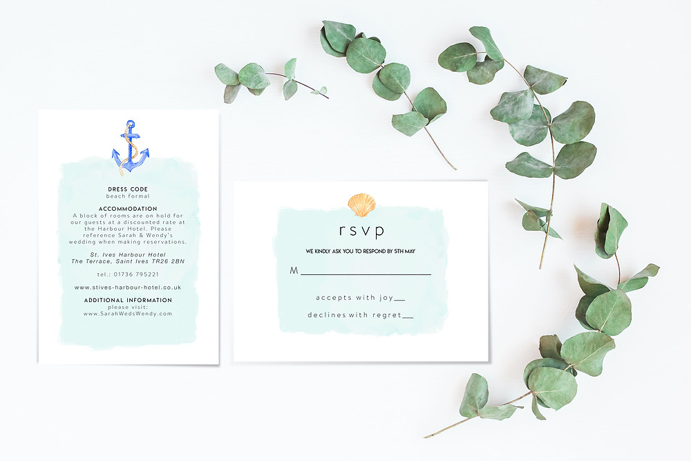 Beach theme wedding nautical harbour invites