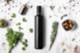Oil vinegar bottle mockup on white woode