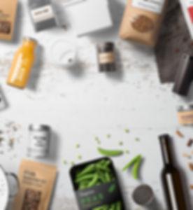 Food packaging set, bottles, cans, jars