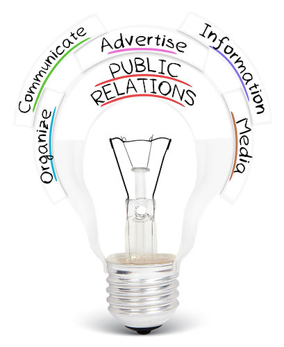 Photo of light bulb with PUBLIC RELATION