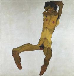 Egon Schiele - Seated Male Nude (Self-Po