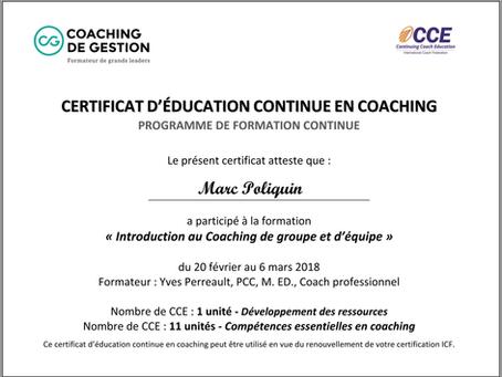 éducation continue en coaching