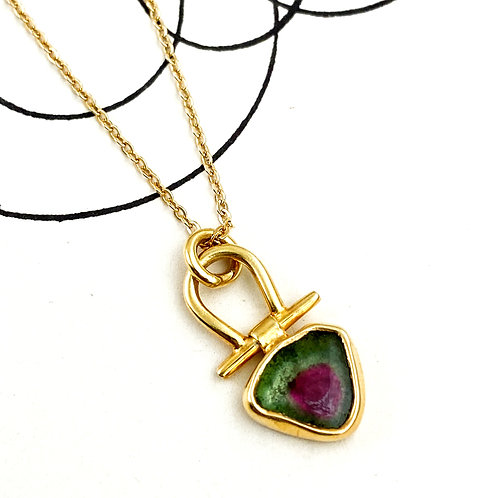 Pink and Green Tourmaline Pendant Necklace