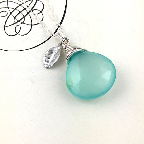 Aqua Blue Chalcedony Sterling Silver Necklace