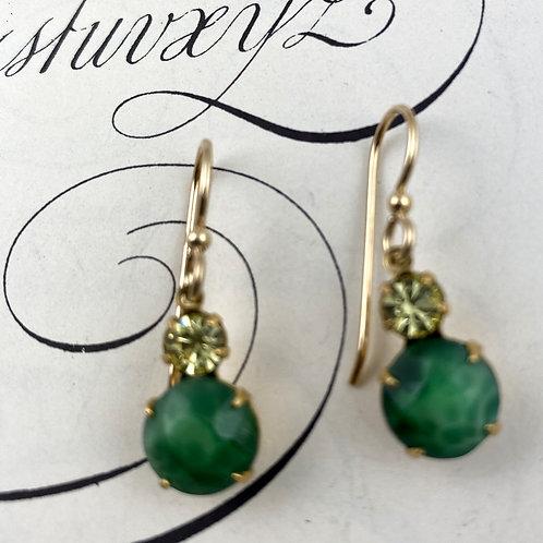 Fancy Seahawk Emerald Green Vintage Earrings