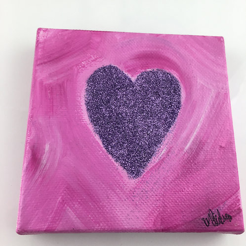 Heart Collage Painting - Lavender Glitter Heart