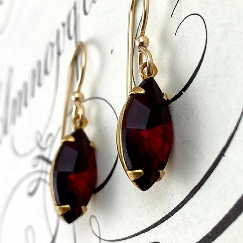 Elegant Ruby Red Vintage Earrings