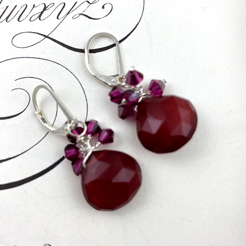 Chocolate Chalcedony Cluster Earrings with Raspberry Crystals