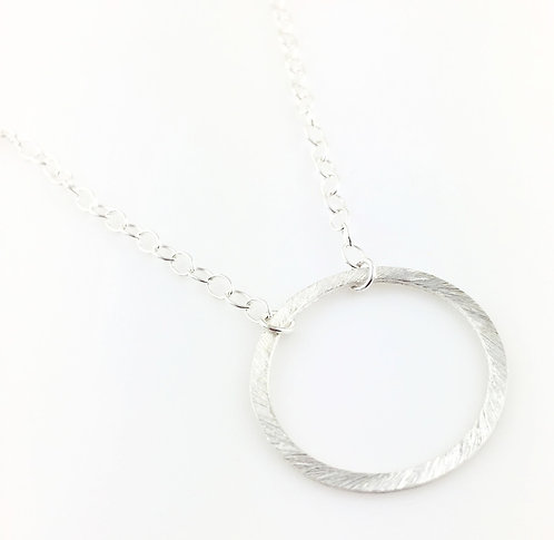 Floating Petite Circle Silver Necklace