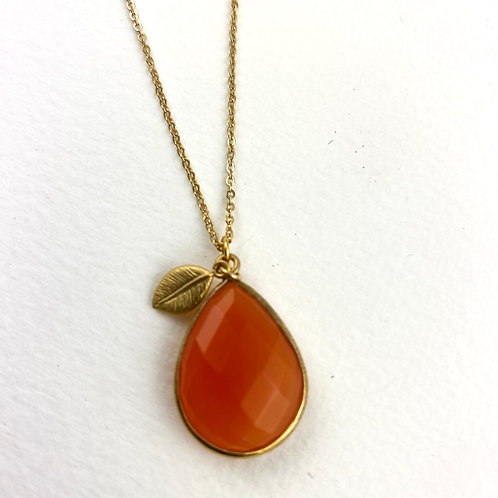 Faceted Orange Carnelian Necklace With Petite Leaf